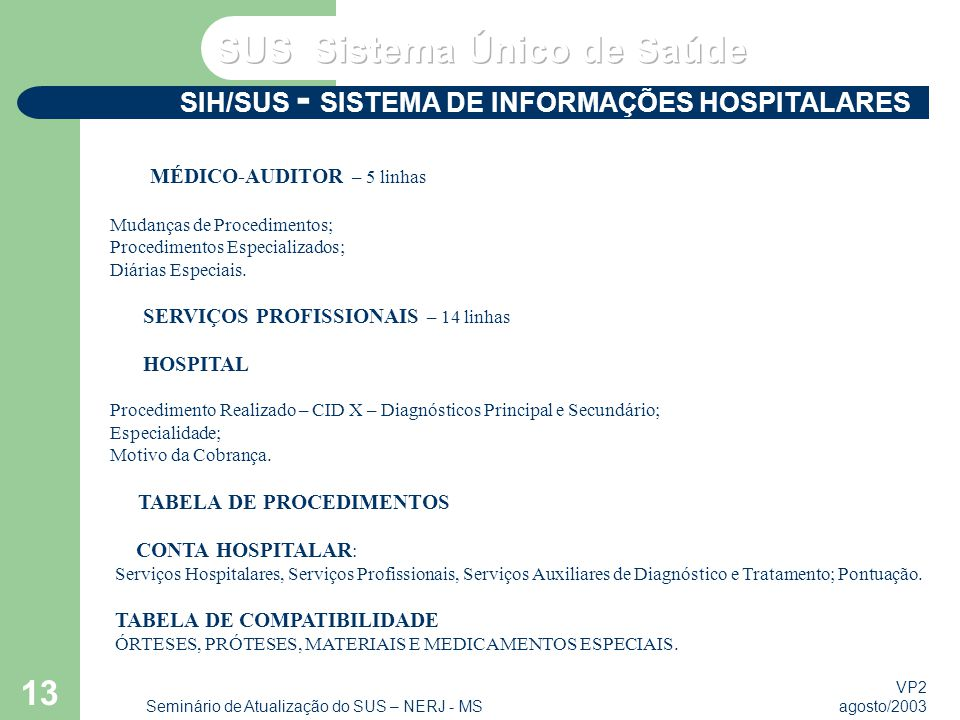 VP2 agosto/2003 Seminário de Atualização do SUS – NERJ - MS 13 SIH/SUS - SISTEMA DE INFORMAÇÕES HOSPITALARES MÉDICO-AUDITOR – 5 linhas Mudanças de Procedimentos; Procedimentos Especializados; Diárias Especiais.