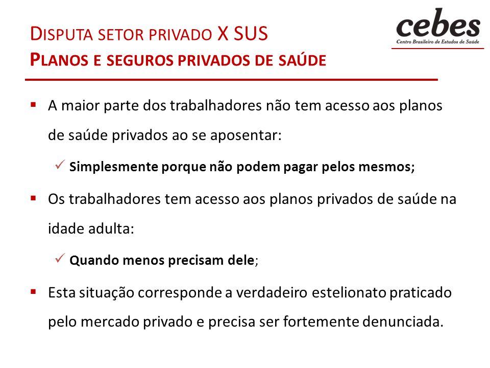 DISPUTA SETOR PRIVADO X SUS PRESTADORES PRIVADOS DE SERVIÇO (NÃO SUS) Hospitais, clínicas, laboratórios de diagnóstico e consultórios que prestam serviços para os planos privados de saúde privados Se beneficiam da isenção fiscal no Imposto de Renda Cada vez mais hospitais privados vem deixando o SUS (RIBEIRO, 2009).