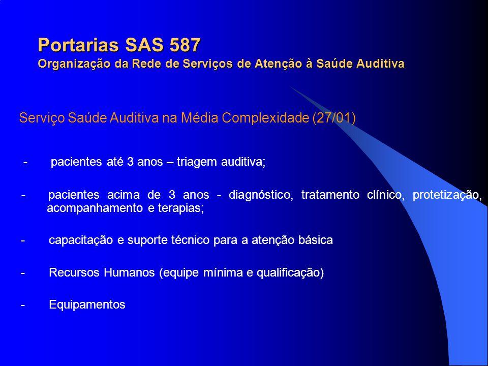 Portarias SAS 587 Organização da Rede de Serviços de Atenção à Saúde Auditiva Serviço Saúde Auditiva na Média Complexidade (27/01) - pacientes até 3 a