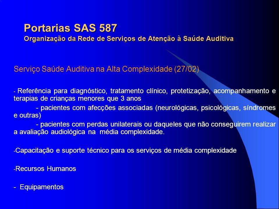 Portarias SAS 587 Organização da Rede de Serviços de Atenção à Saúde Auditiva Serviço Saúde Auditiva na Alta Complexidade (27/02) - Referência para di