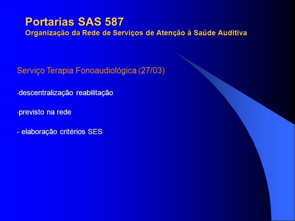 Portarias SAS 587 Organização da Rede de Serviços de Atenção à Saúde Auditiva Serviço Terapia Fonoaudiológica (27/03) - descentralização reabilitação