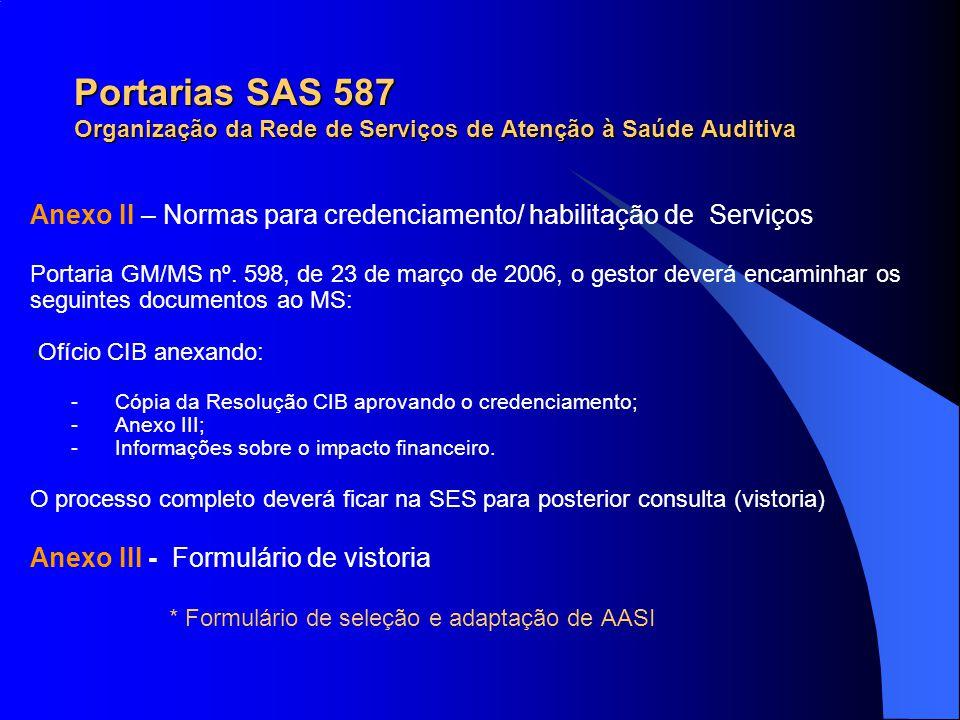 Portarias SAS 587 Organização da Rede de Serviços de Atenção à Saúde Auditiva Anexo II – Normas para credenciamento/ habilitação de Serviços Portaria