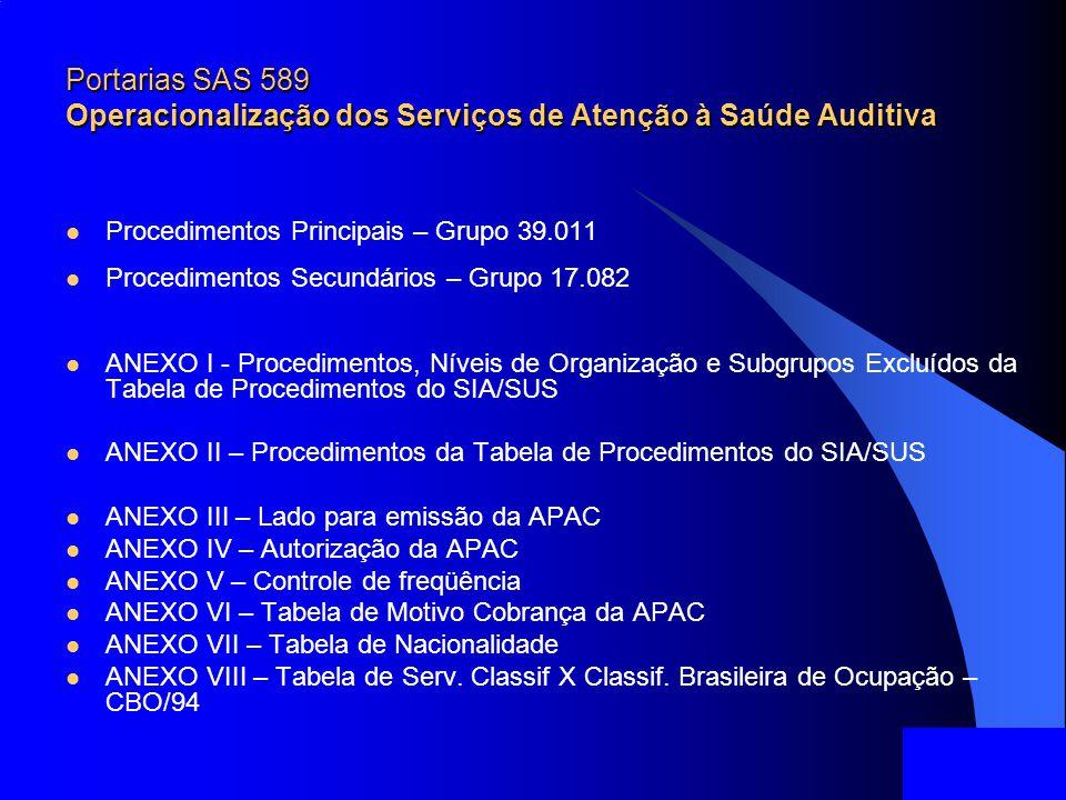 Portarias SAS 589 Operacionalização dos Serviços de Atenção à Saúde Auditiva Procedimentos Principais – Grupo 39.011 Procedimentos Secundários – Grupo