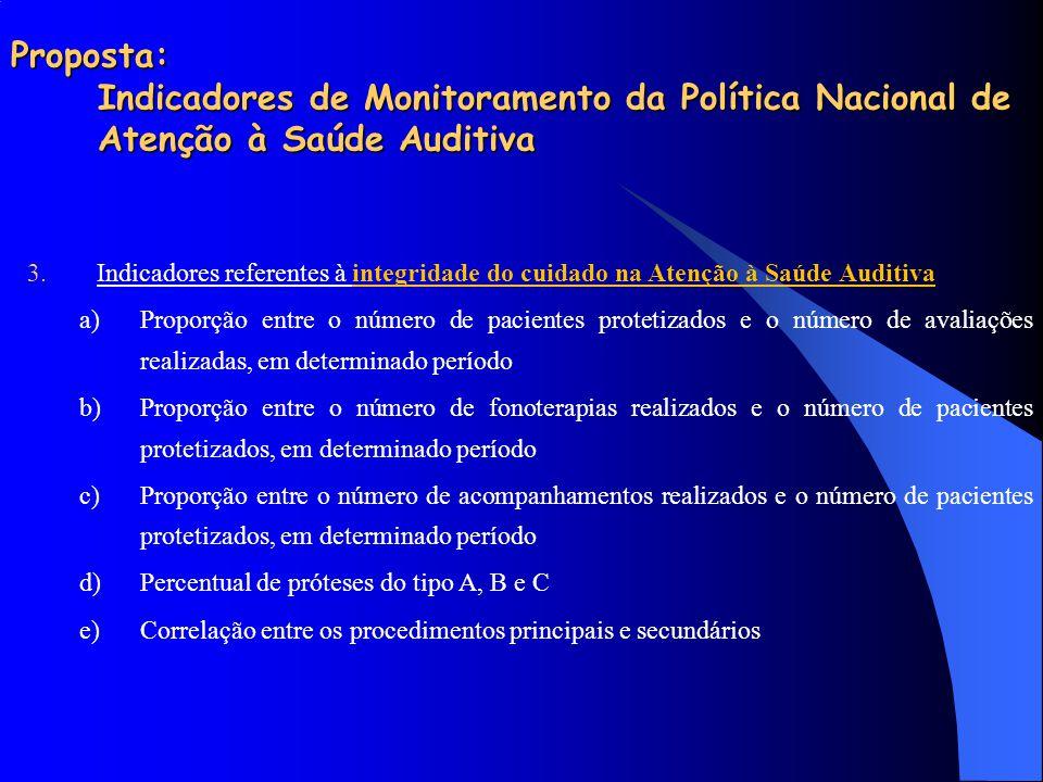 Proposta: Indicadores de Monitoramento da Política Nacional de Atenção à Saúde Auditiva 3.Indicadores referentes à integridade do cuidado na Atenção à