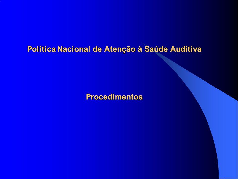 Política Nacional de Atenção à Saúde Auditiva Procedimentos