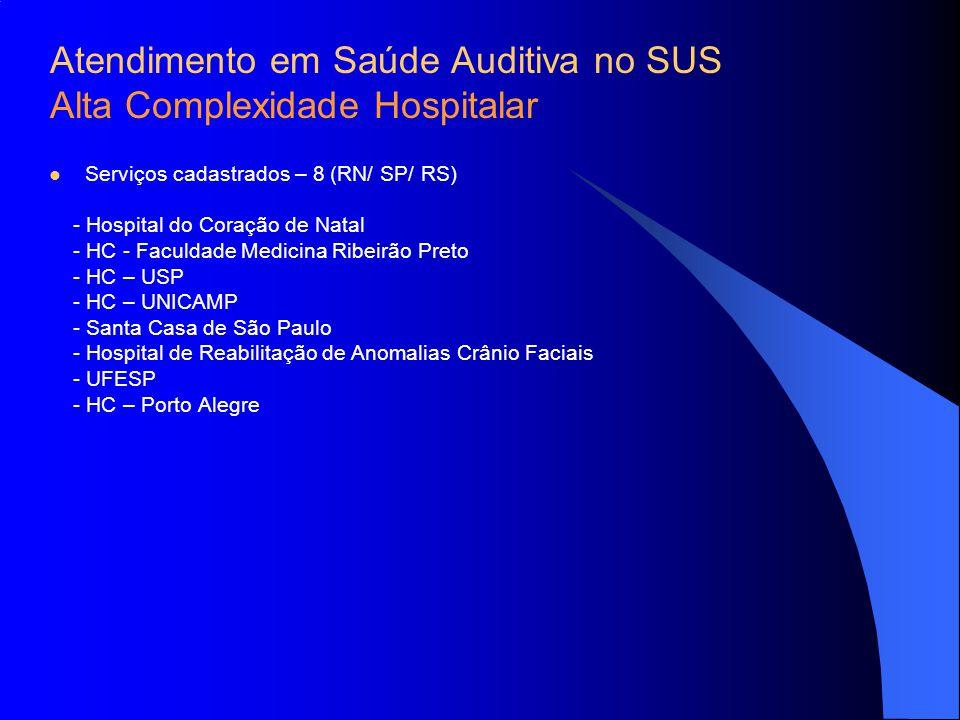 Serviços cadastrados – 8 (RN/ SP/ RS) - Hospital do Coração de Natal - HC - Faculdade Medicina Ribeirão Preto - HC – USP - HC – UNICAMP - Santa Casa d