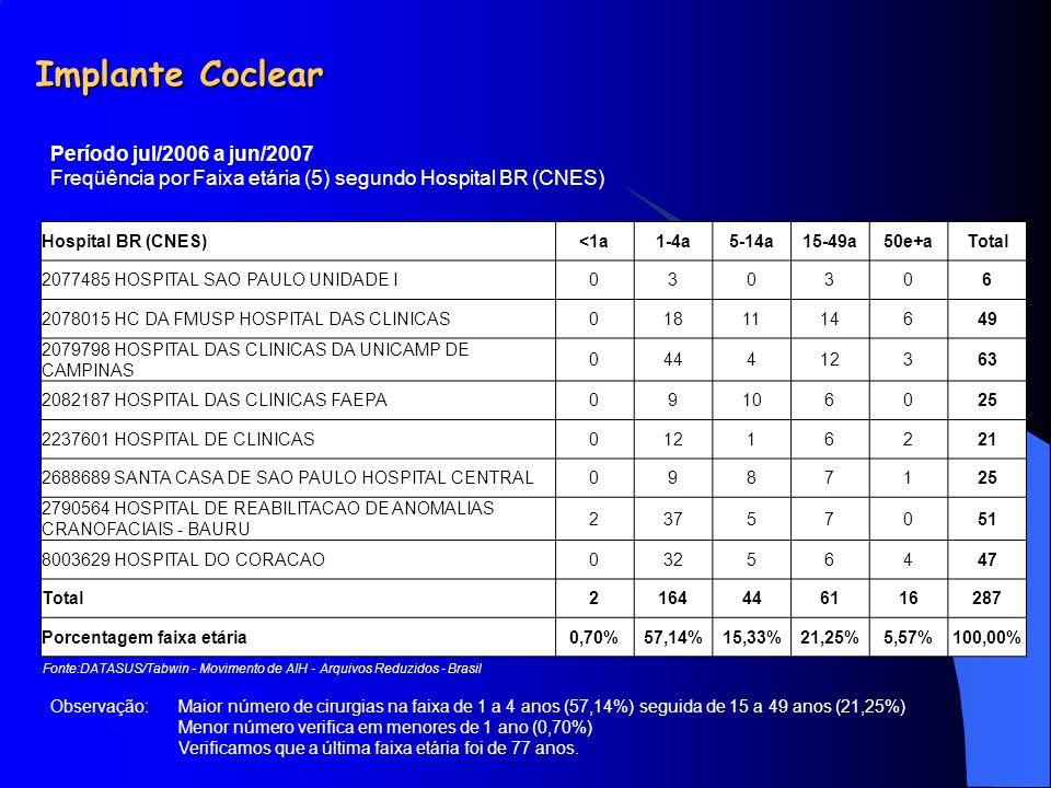 Implante Coclear Hospital BR (CNES)<1a1-4a5-14a15-49a50e+aTotal 2077485 HOSPITAL SAO PAULO UNIDADE I030306 2078015 HC DA FMUSP HOSPITAL DAS CLINICAS01