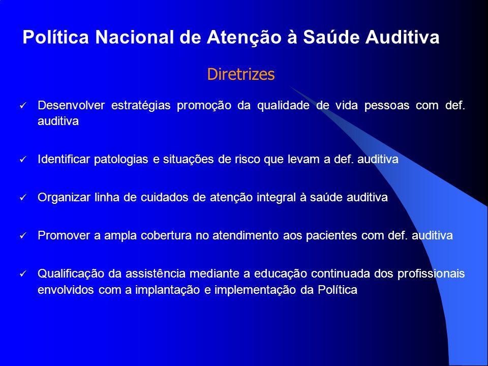 Política Nacional de Atenção à Saúde Auditiva Desenvolver estratégias promoção da qualidade de vida pessoas com def. auditiva Identificar patologias e