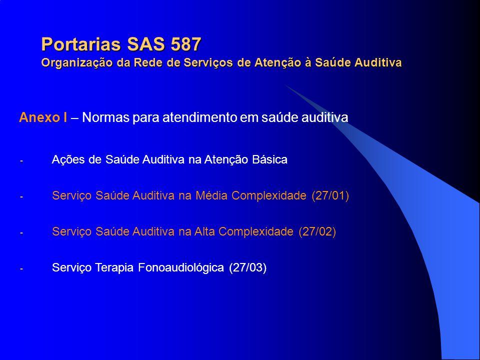 Portarias SAS 587 Organização da Rede de Serviços de Atenção à Saúde Auditiva Anexo I – Normas para atendimento em saúde auditiva - Ações de Saúde Aud