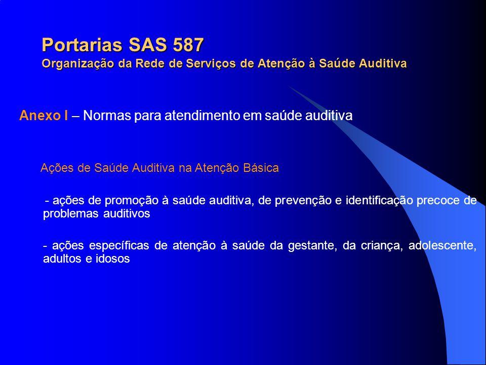 Portarias SAS 587 Organização da Rede de Serviços de Atenção à Saúde Auditiva Ações de Saúde Auditiva na Atenção Básica - ações de promoção à saúde au