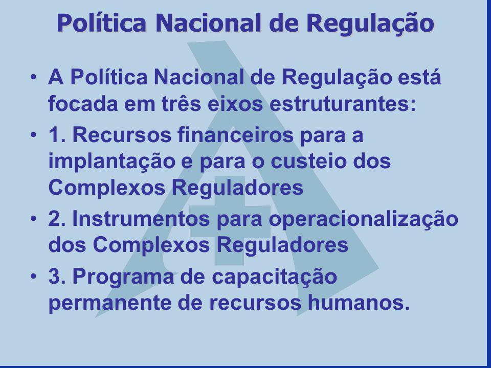 Política Nacional de Regulação A Política Nacional de Regulação está focada em três eixos estruturantes: 1.