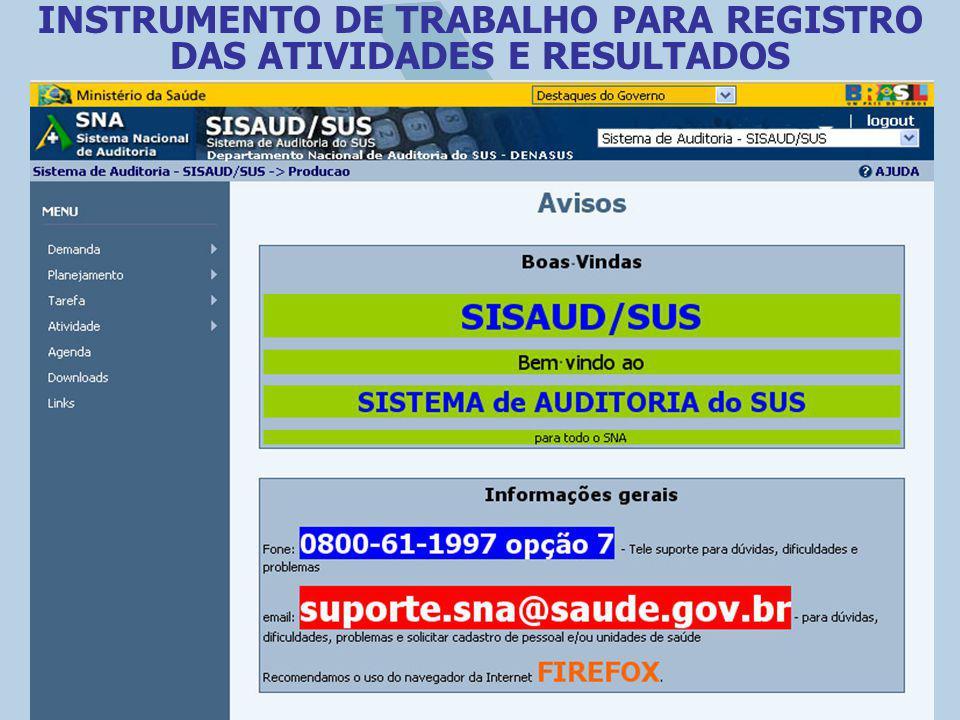 INSTRUMENTO DE TRABALHO PARA REGISTRO DAS ATIVIDADES E RESULTADOS