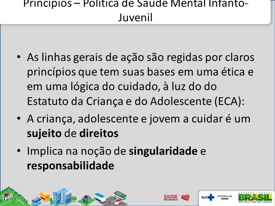 Princípios – Política de Saúde Mental Infanto- Juvenil As linhas gerais de ação são regidas por claros princípios que tem suas bases em uma ética e em