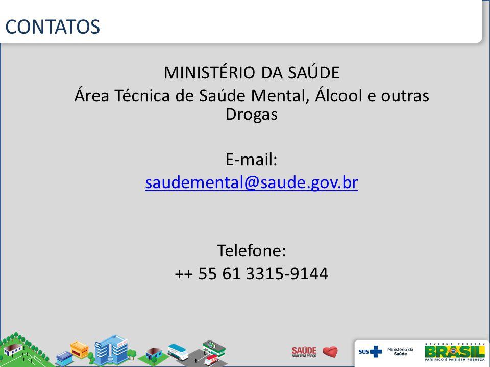 CONTATOS MINISTÉRIO DA SAÚDE Área Técnica de Saúde Mental, Álcool e outras Drogas E-mail: saudemental@saude.gov.br Telefone: ++ 55 61 3315-9144