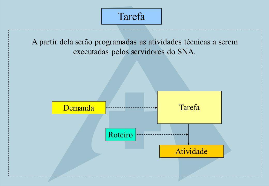 Tarefa Atividade Tarefa Demanda A partir dela serão programadas as atividades técnicas a serem executadas pelos servidores do SNA. Roteiro