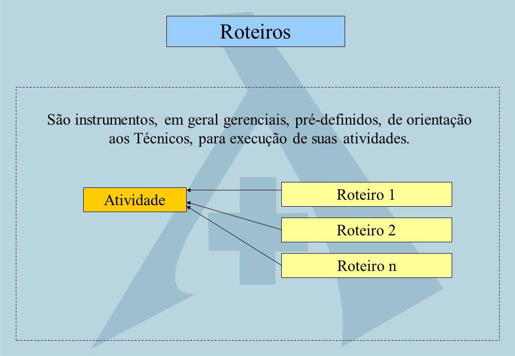 Roteiro 1 Roteiros Atividade Roteiro 2 Roteiro n São instrumentos, em geral gerenciais, pré-definidos, de orientação aos Técnicos, para execução de su