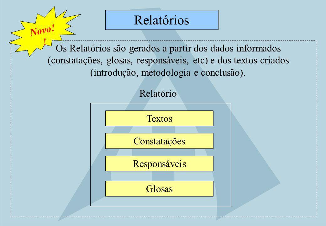 Textos Relatórios Constatações Responsáveis Glosas Os Relatórios são gerados a partir dos dados informados (constatações, glosas, responsáveis, etc) e