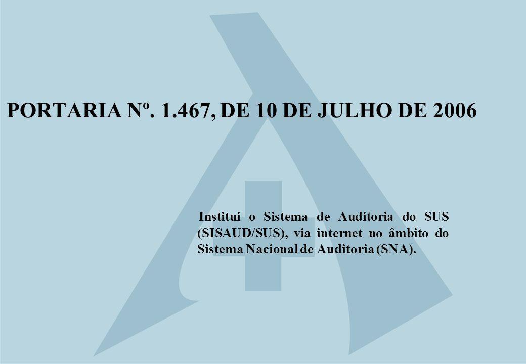 PORTARIA Nº. 1.467, DE 10 DE JULHO DE 2006 Institui o Sistema de Auditoria do SUS (SISAUD/SUS), via internet no âmbito do Sistema Nacional de Auditori
