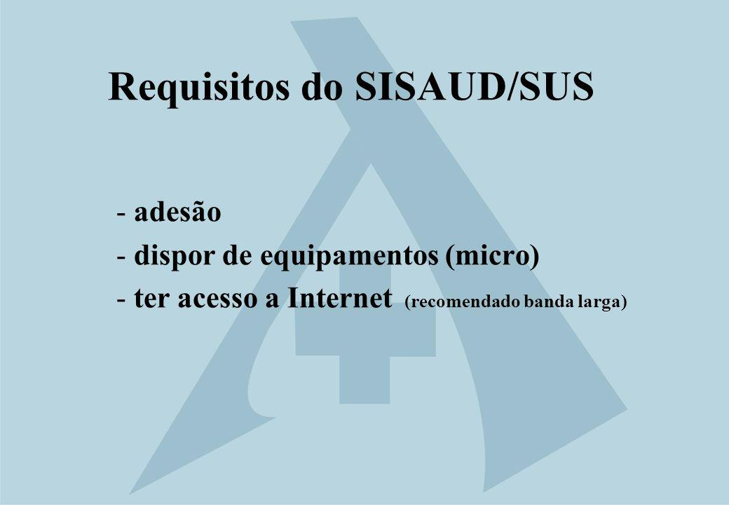 Requisitos do SISAUD/SUS - adesão - dispor de equipamentos (micro) - ter acesso a Internet (recomendado banda larga)