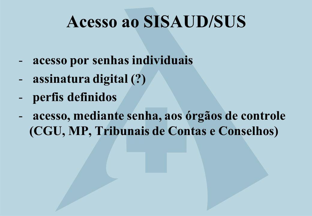Acesso ao SISAUD/SUS - acesso por senhas individuais - assinatura digital (?) - perfis definidos - acesso, mediante senha, aos órgãos de controle (CGU