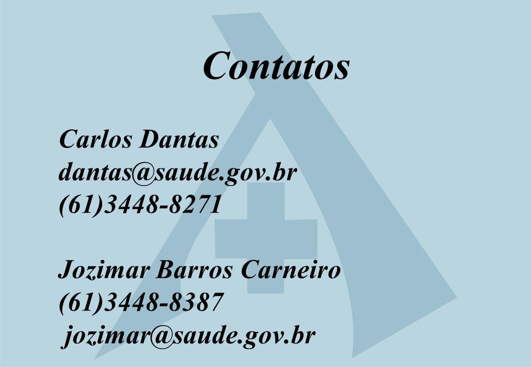 Contatos Carlos Dantas dantas@saude.gov.br (61)3448-8271 Jozimar Barros Carneiro (61)3448-8387 jozimar@saude.gov.br
