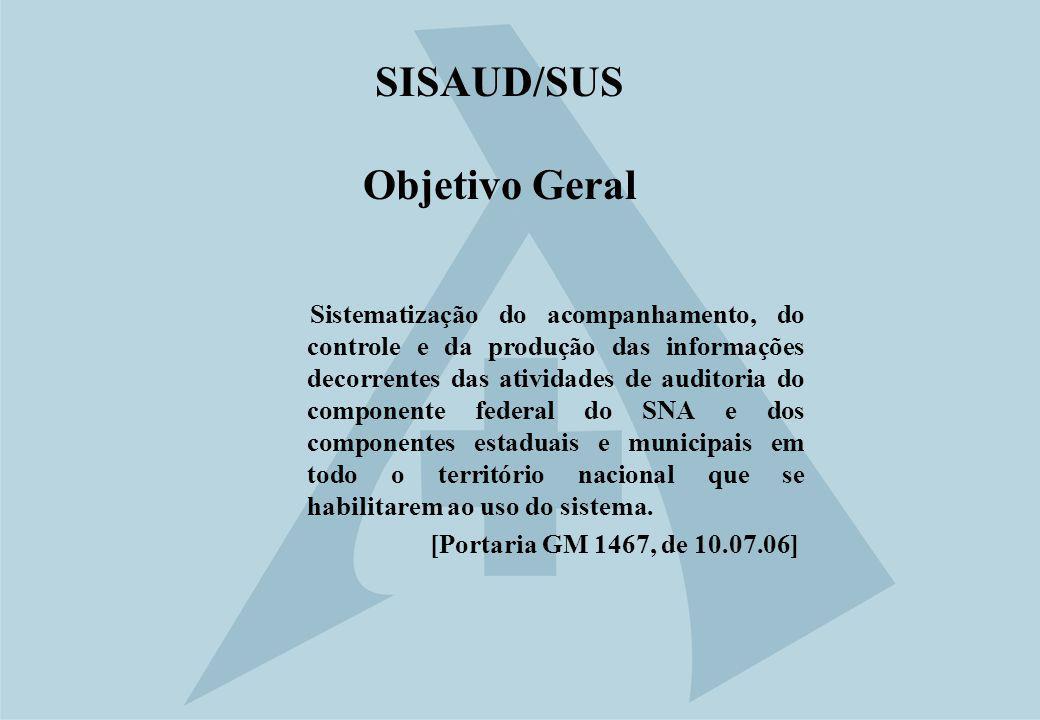 SISAUD/SUS Objetivo Geral Sistematização do acompanhamento, do controle e da produção das informações decorrentes das atividades de auditoria do compo