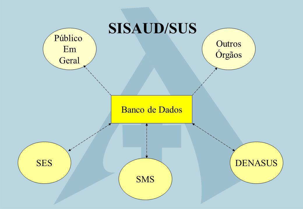 SISAUD/SUS SES Banco de Dados DENASUS Outros Órgãos Público Em Geral SMS