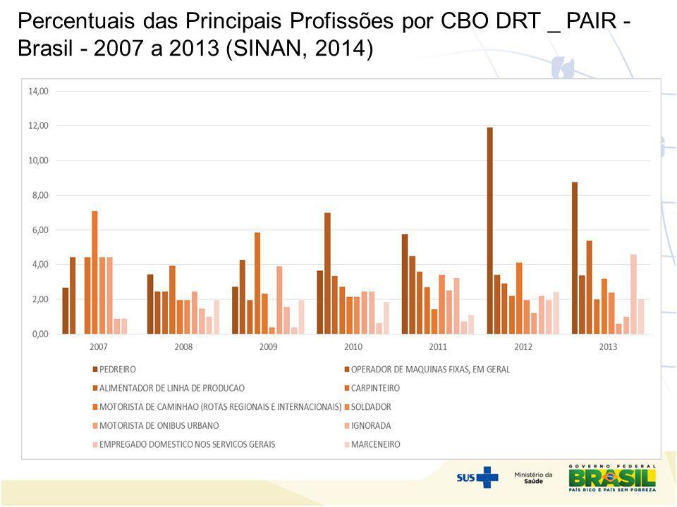 Percentuais das Principais Profissões por CBO DRT _ PAIR - Brasil - 2007 a 2013 (SINAN, 2014) o e descentralização