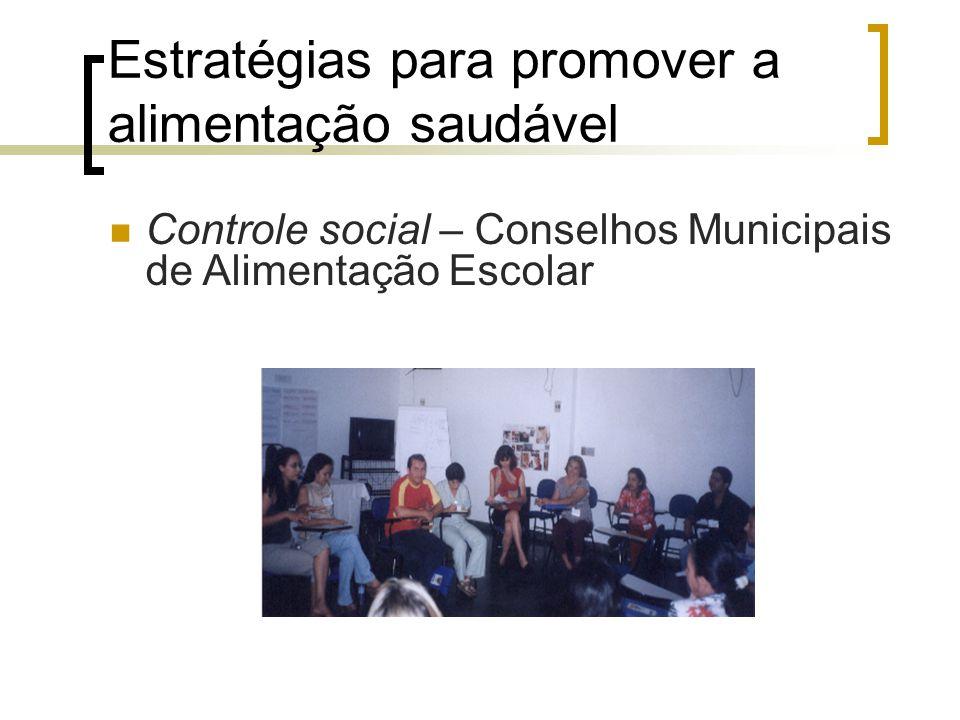 Estratégias para promover a alimentação saudável Controle social – Conselhos Municipais de Alimentação Escolar