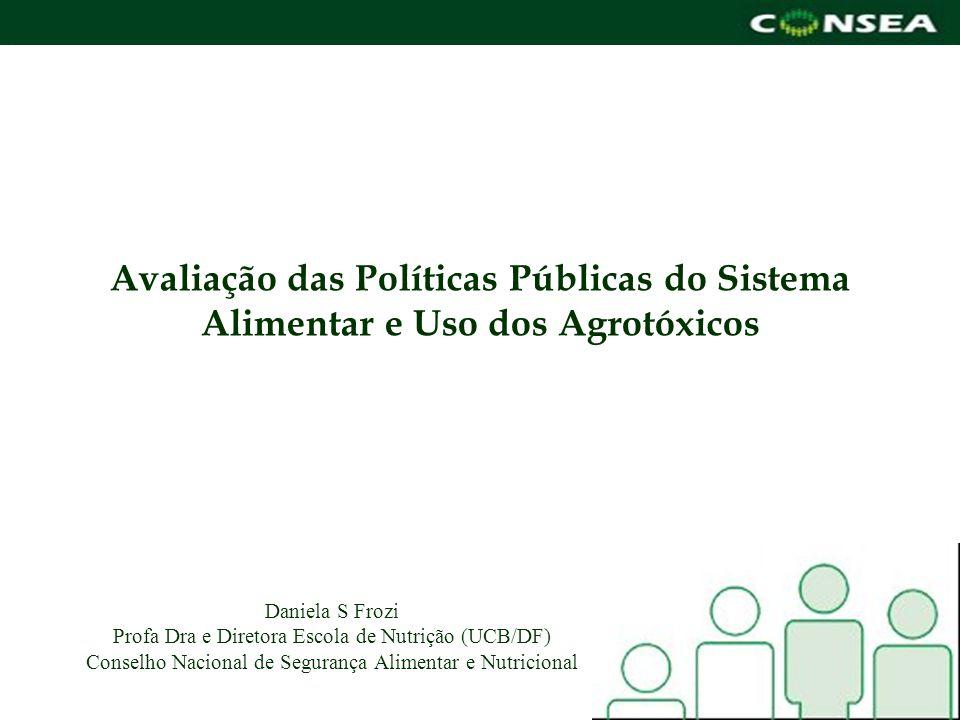 Avaliação das Políticas Públicas do Sistema Alimentar e Uso dos Agrotóxicos Daniela S Frozi Profa Dra e Diretora Escola de Nutrição (UCB/DF) Conselho
