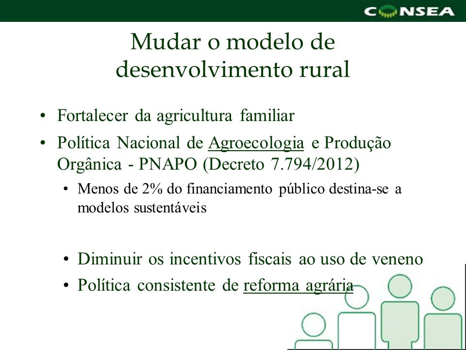 Mudar o modelo de desenvolvimento rural Fortalecer da agricultura familiar Política Nacional de Agroecologia e Produção Orgânica - PNAPO (Decreto 7.79