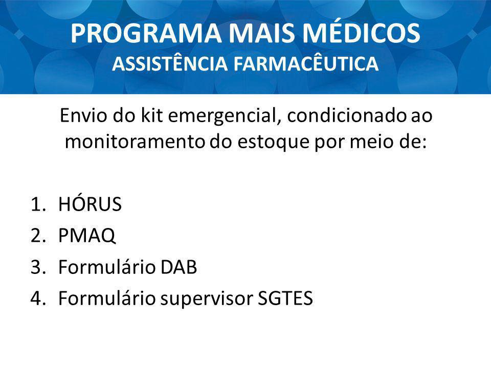 PROGRAMA MAIS MÉDICOS ASSISTÊNCIA FARMACÊUTICA Envio do kit emergencial, condicionado ao monitoramento do estoque por meio de: 1.HÓRUS 2.PMAQ 3.Formul