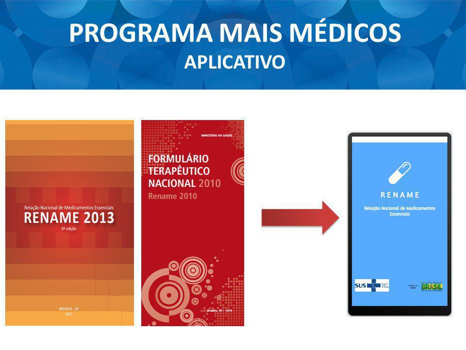PROGRAMA MAIS MÉDICOS APLICATIVO 189 Medicamentos 348 Apresentações 12 Fitoterápicos Medicamentos Homeopáticos