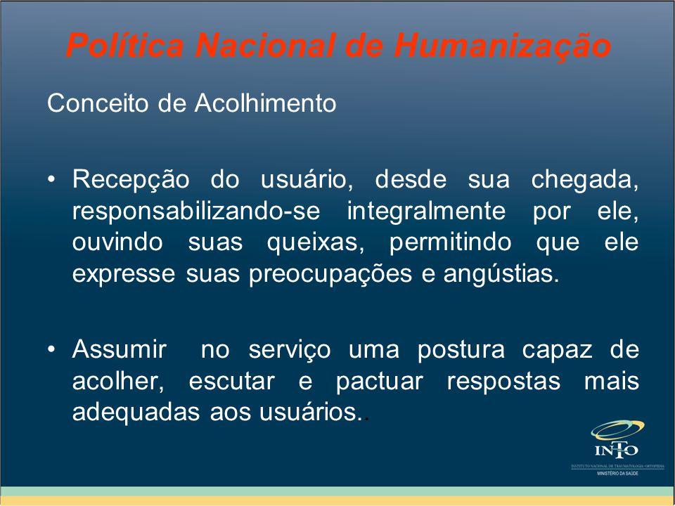 Política Nacional de Humanização Assim, colocar em ação o Acolhimento como diretriz operacional, requer uma nova atitude de mudança no fazer em saúde.