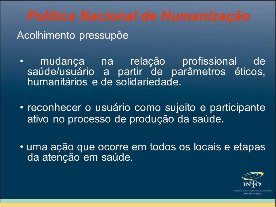 Política Nacional de Humanização Acolhimento pressupõe mudança na relação profissional de saúde/usuário a partir de parâmetros éticos, humanitários e