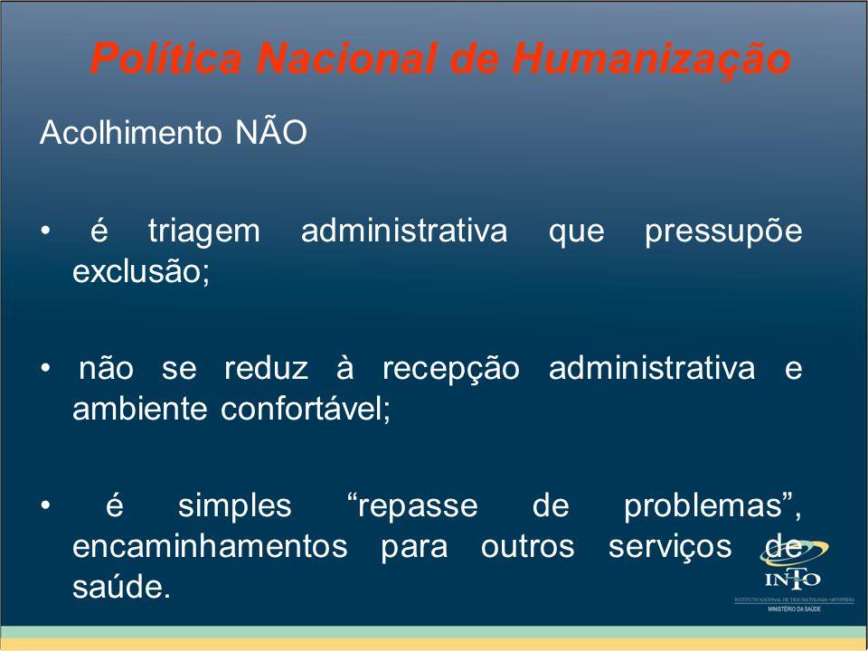 Política Nacional de Humanização Acolhimento NÃO é triagem administrativa que pressupõe exclusão; não se reduz à recepção administrativa e ambiente co