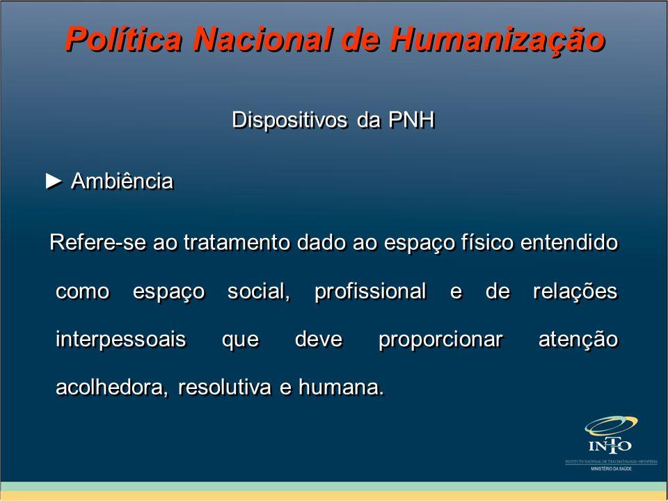 Dispositivos da PNH Ambiência Refere-se ao tratamento dado ao espaço físico entendido como espaço social, profissional e de relações interpessoais que