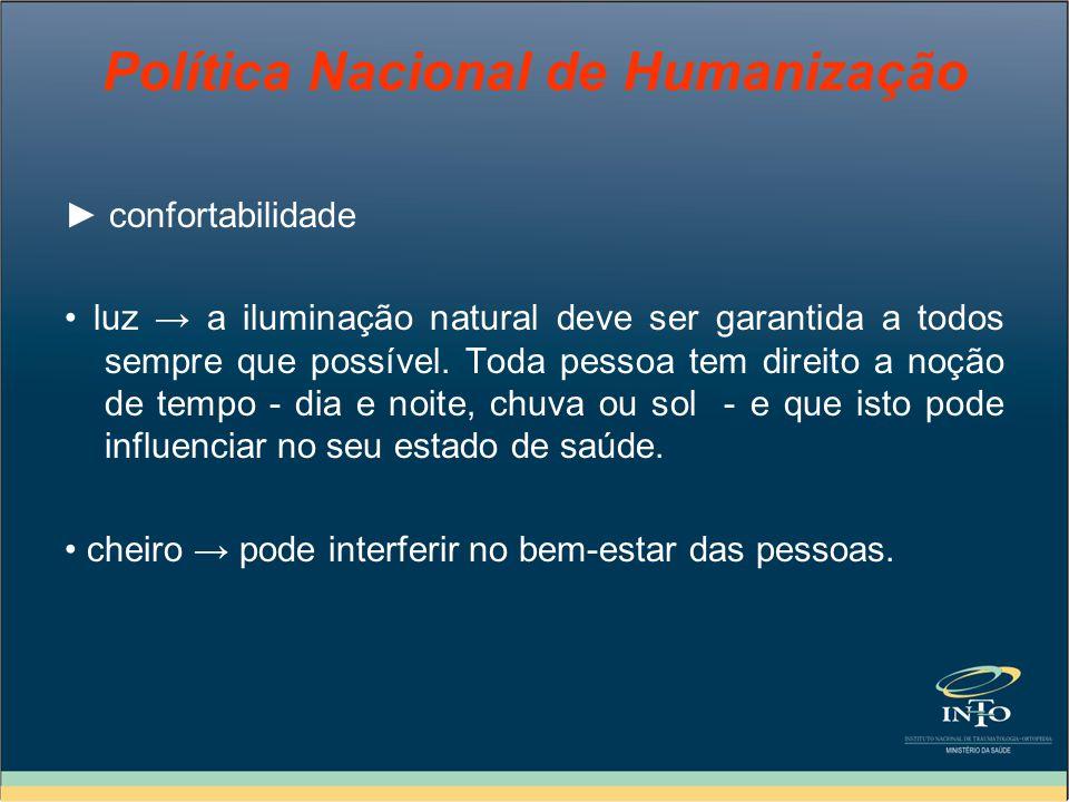 Política Nacional de Humanização confortabilidade luz a iluminação natural deve ser garantida a todos sempre que possível. Toda pessoa tem direito a n