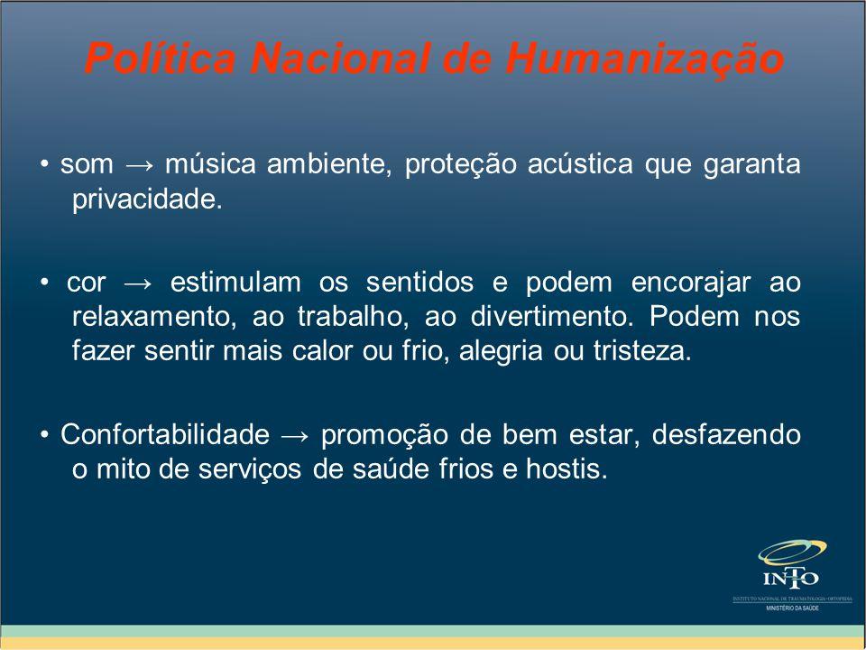 Política Nacional de Humanização som música ambiente, proteção acústica que garanta privacidade. cor estimulam os sentidos e podem encorajar ao relaxa