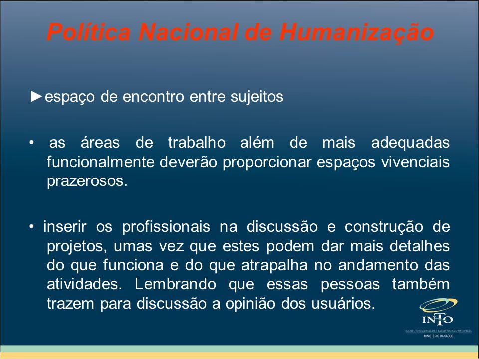 Política Nacional de Humanização espaço de encontro entre sujeitos as áreas de trabalho além de mais adequadas funcionalmente deverão proporcionar esp