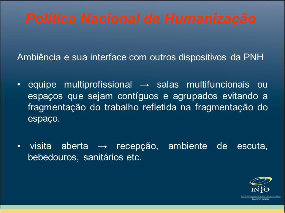 Política Nacional de Humanização Ambiência e sua interface com outros dispositivos da PNH equipe multiprofissional salas multifuncionais ou espaços qu