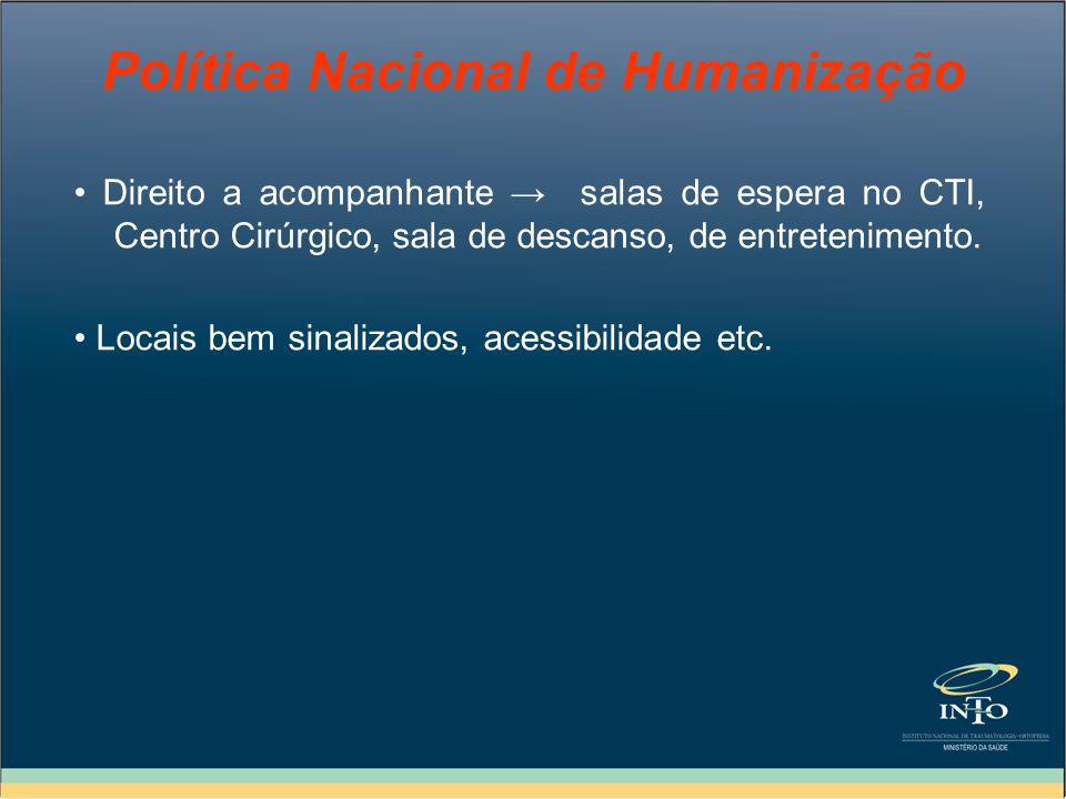 Política Nacional de Humanização Direito a acompanhante salas de espera no CTI, Centro Cirúrgico, sala de descanso, de entretenimento. Locais bem sina