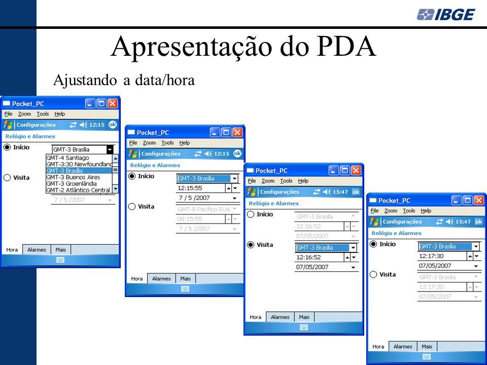 Apresentação do PDA Ajustando a data/hora