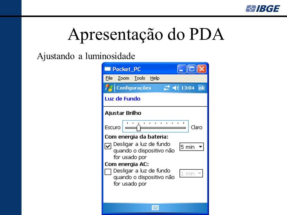 Apresentação do PDA Ajustando a luminosidade