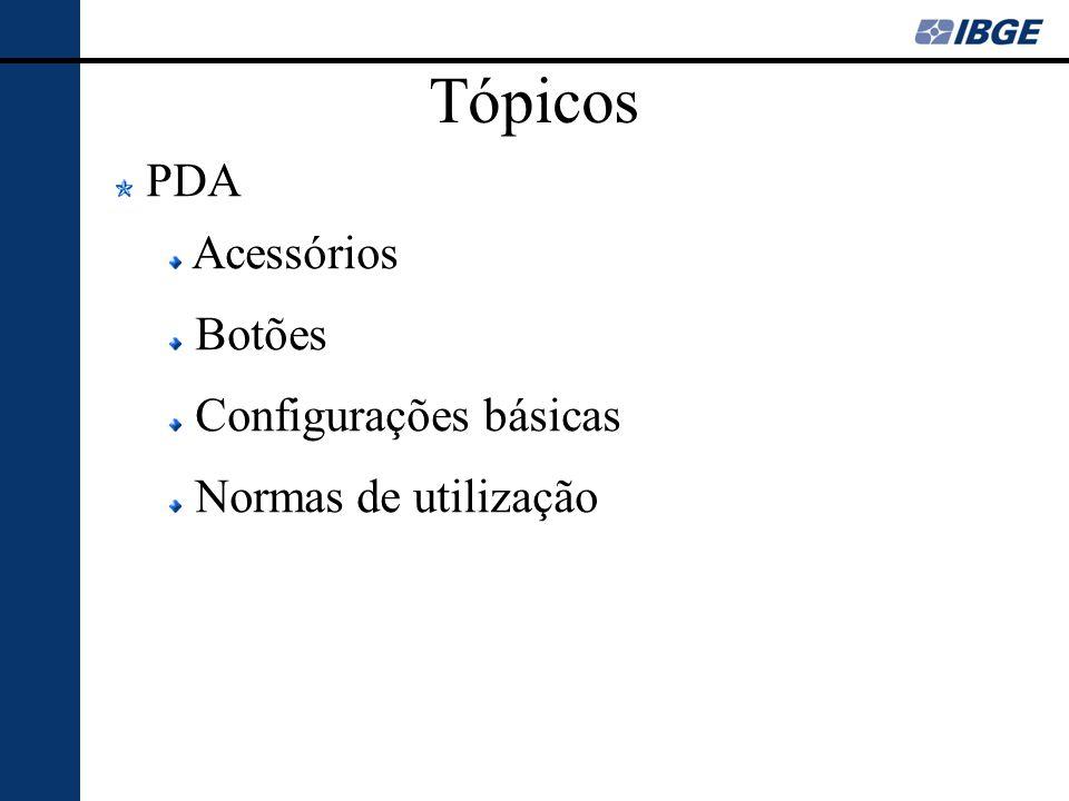 Tópicos PDA Acessórios Botões Configurações básicas Normas de utilização
