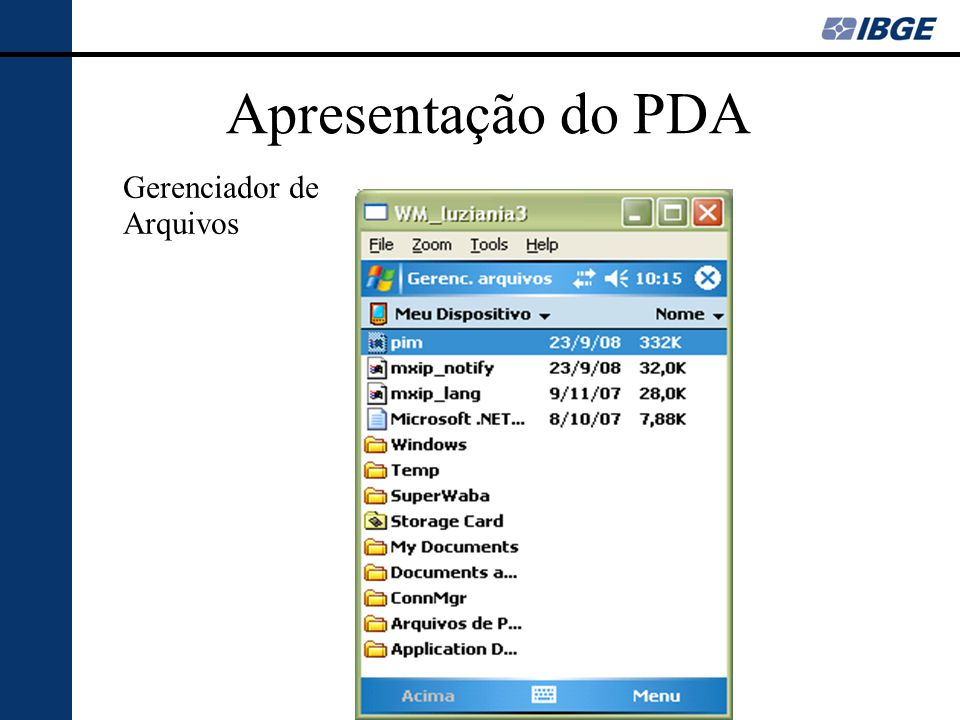 Apresentação do PDA Gerenciador de Arquivos
