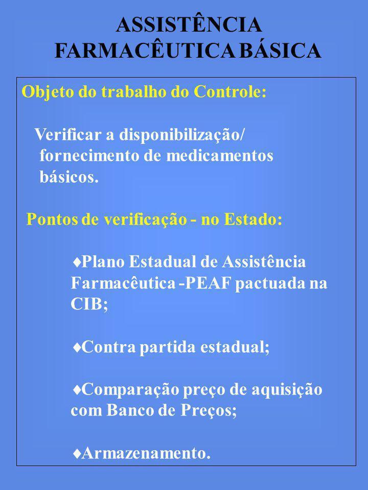ASSISTÊNCIA FARMACÊUTICA BÁSICA Objeto do trabalho do Controle: Verificar a disponibilização/ fornecimento de medicamentos básicos.