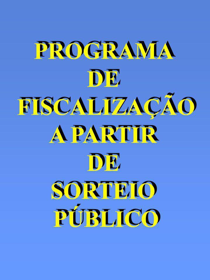 PROGRAMA DE FISCALIZAÇÃO A PARTIR DE SORTEIO PÚBLICO PROGRAMA DE FISCALIZAÇÃO A PARTIR DE SORTEIO PÚBLICO
