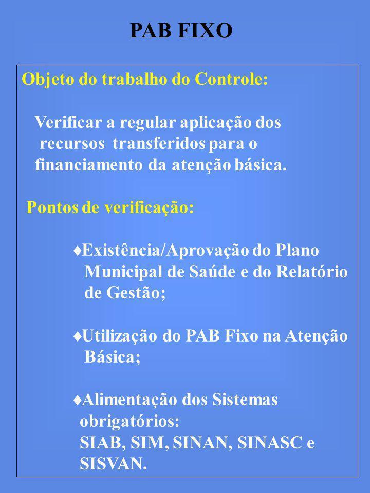 PAB FIXO Objeto do trabalho do Controle: Verificar a regular aplicação dos recursos transferidos para o financiamento da atenção básica.