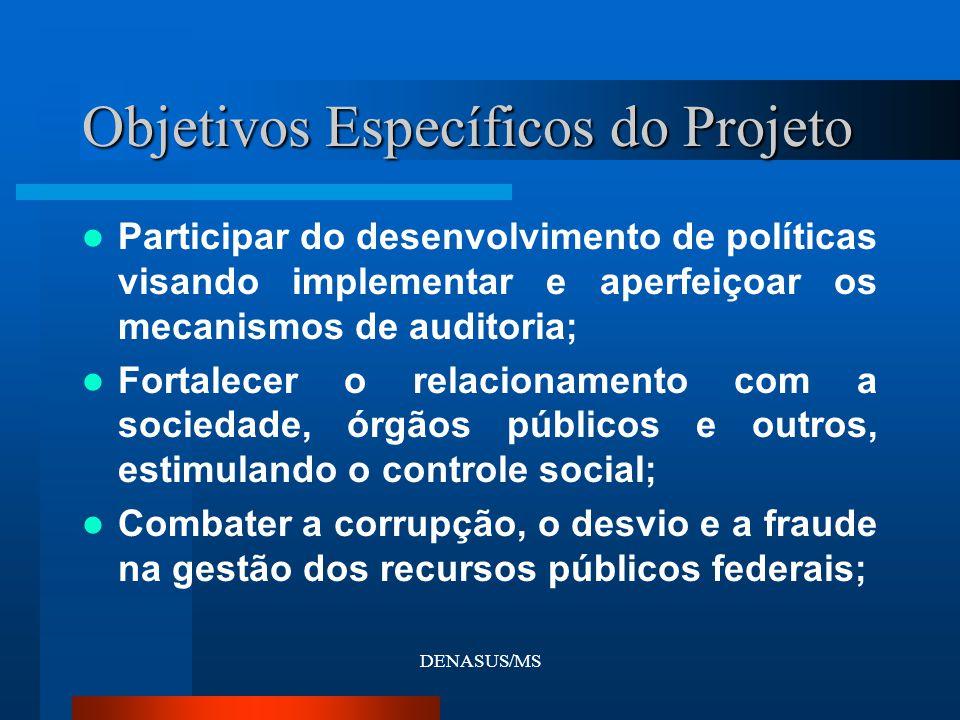DENASUS/MS Participar do desenvolvimento de políticas visando implementar e aperfeiçoar os mecanismos de auditoria; Fortalecer o relacionamento com a